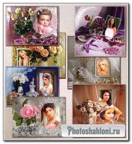Фоторамки с букетами цветов