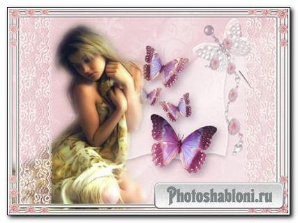 Фоторамка - Девушка с бабочками