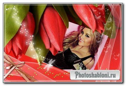 рамка Красные тюльпаны