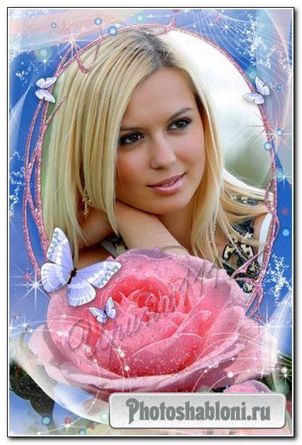 Рамка для Photoshop - Розовая роза