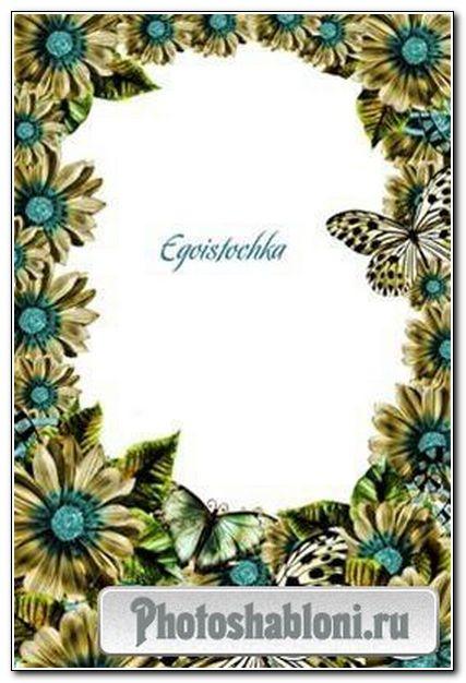Рамка для фото «Тропические цветы и бабочки»