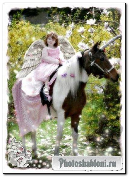 Детская рамка шаблон - Единорог и ангелочек