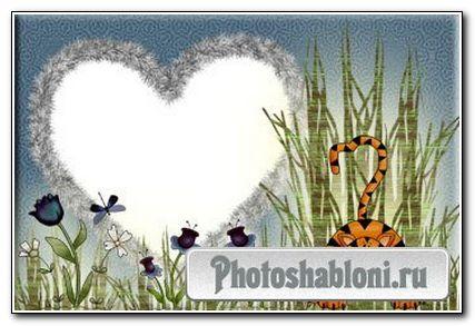 "Рамочка для фотошопа ""Тигрёнок на полянке"""
