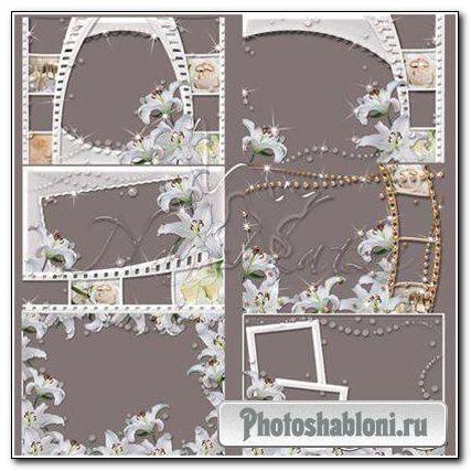 Скачать рамку для фотомонтажа- Набор свадебных рамочек