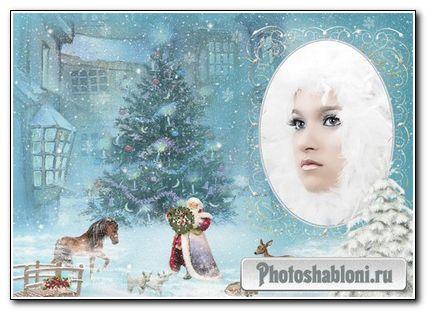 Новогодняя зимняя рамка для фото Метель
