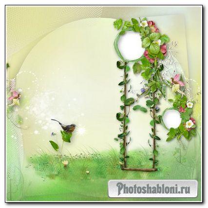 """Скрап-страничка фоторамка для Adobe Photoshop - """"Летняя-4"""""""